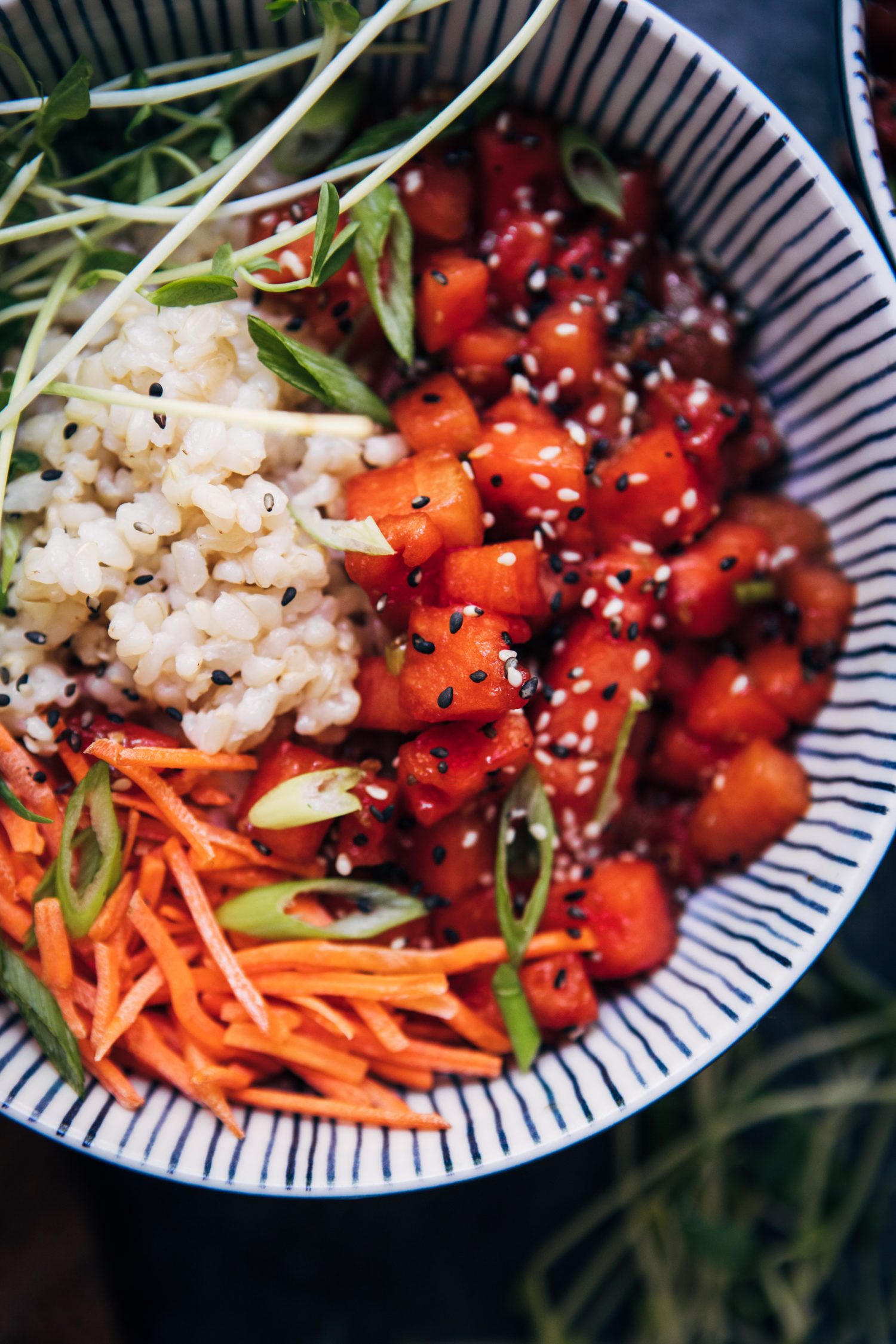 Watermelon Poke Bowl | Well and Full | #vegan #plantbased #recipe