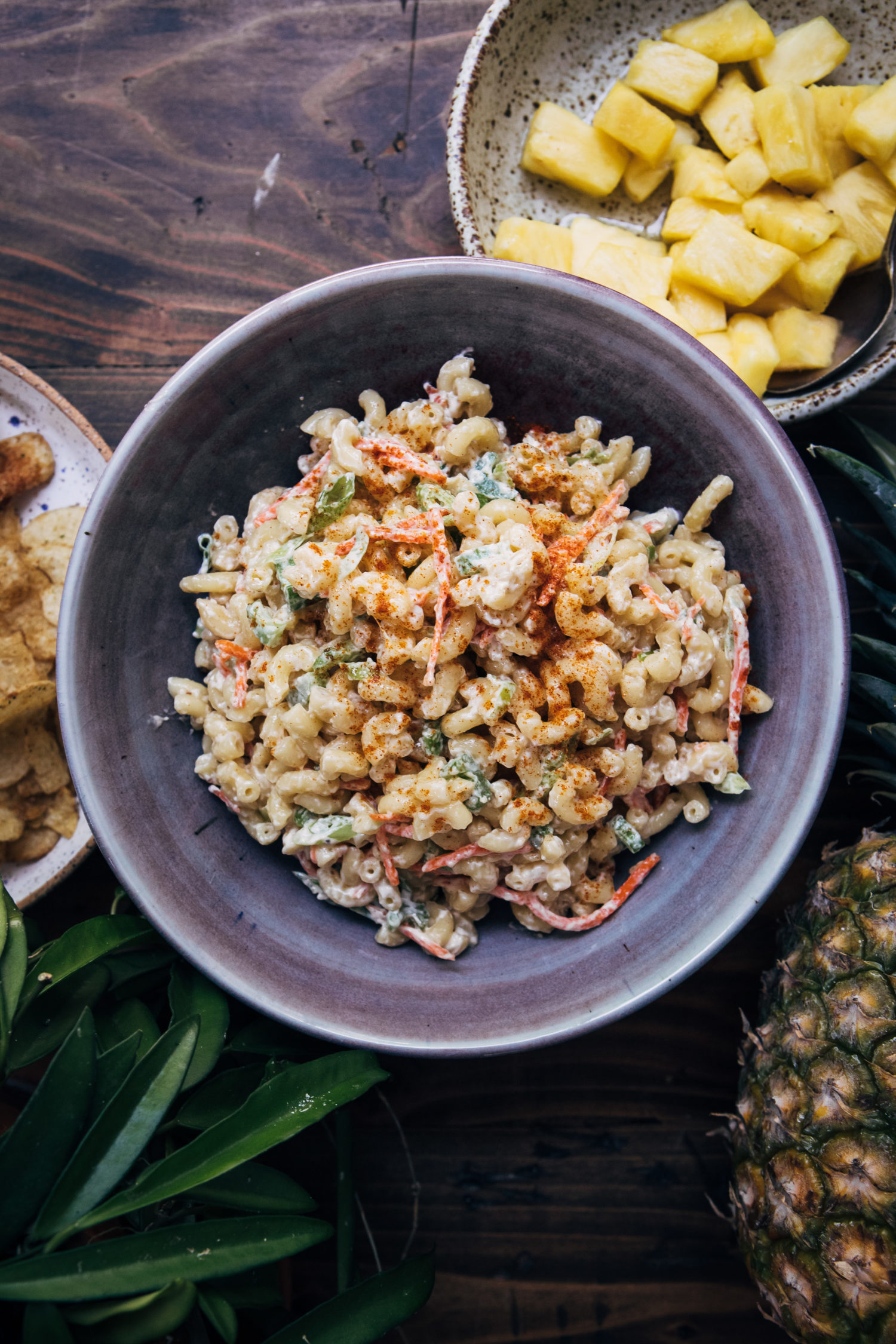 Hawaiian Macaroni Salad | Well and Full | #recipe #pastasalad #summer