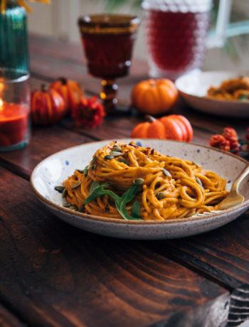 Date Night Pumpkin Pasta | Well and Full | #vegan #autumn #fall #recipe