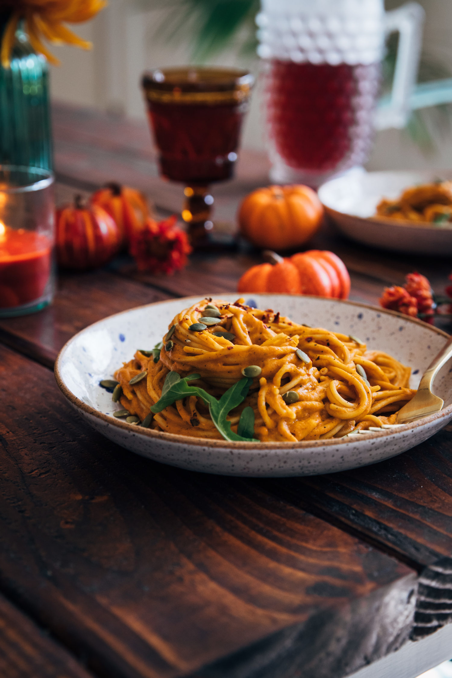 Date Night Pumpkin Pasta | Well and Full | #vegan #autumn #fall #recipe