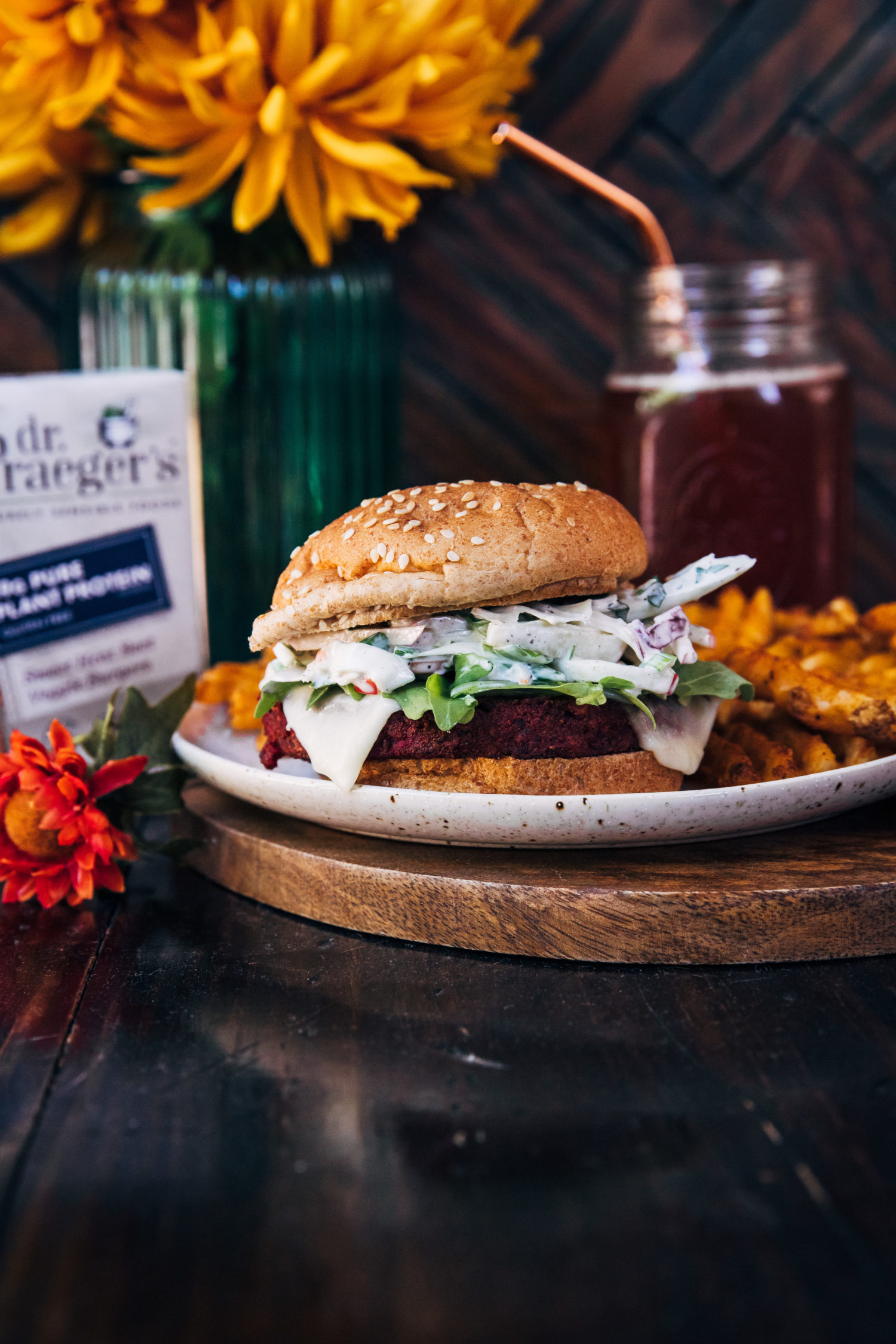 Autumn Veggie Burgers w/ Apple Slaw | Well and Full | #healthy #recipe #fallrecipe