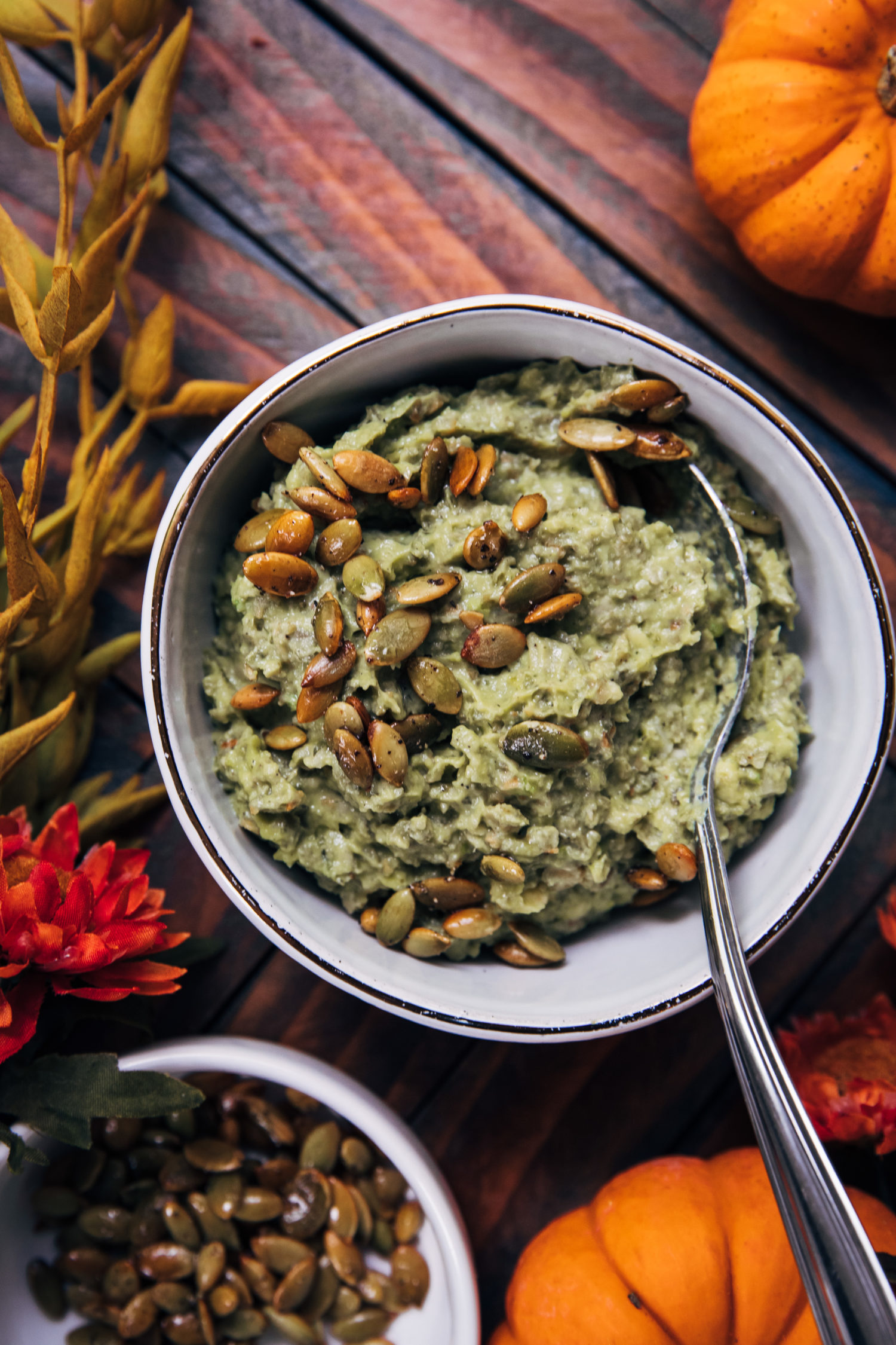Pumpkin Seed Avocado Dip | Well and Full | #vegan #fall #autumn #recipe