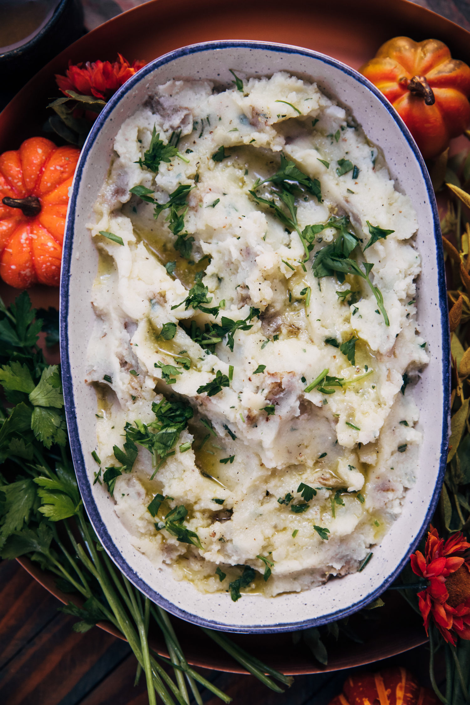 Rustic Herb Mashed Potatoes | Well and Full | #vegetarian #Thanksgiving #recipe