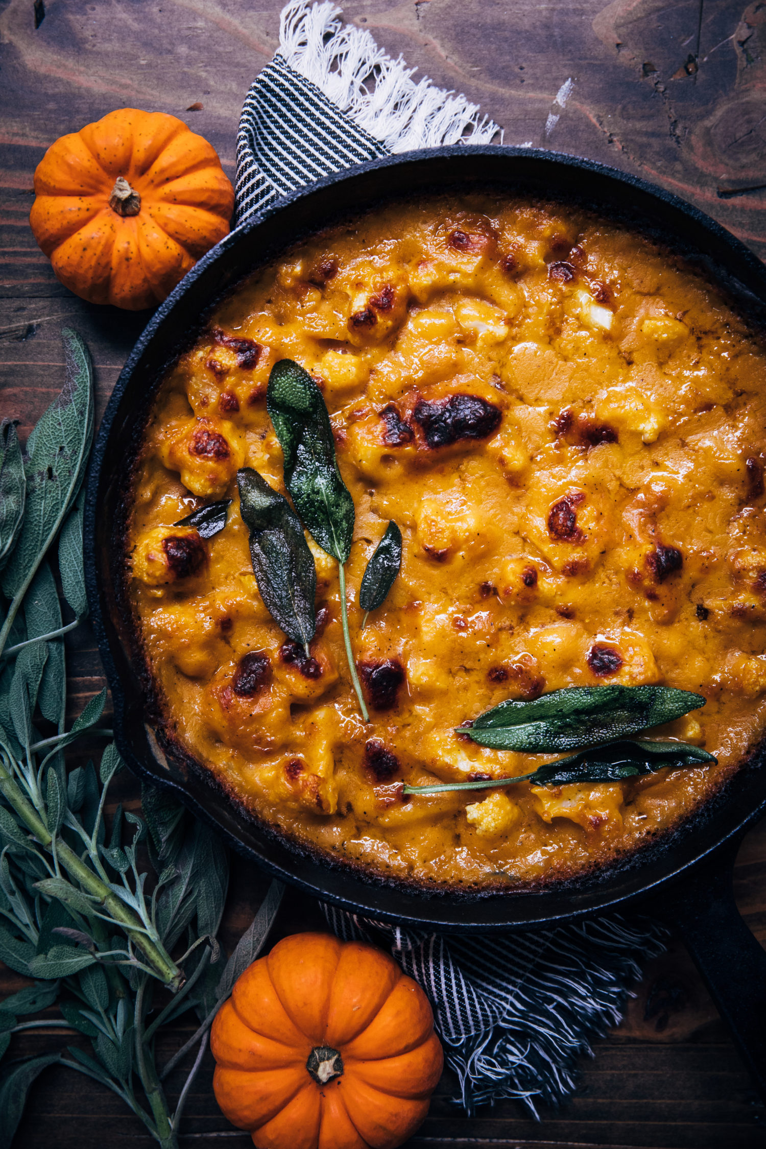 Pumpkin Cauliflower Gratin | Well and Full | #vegetarian #fall #recipe