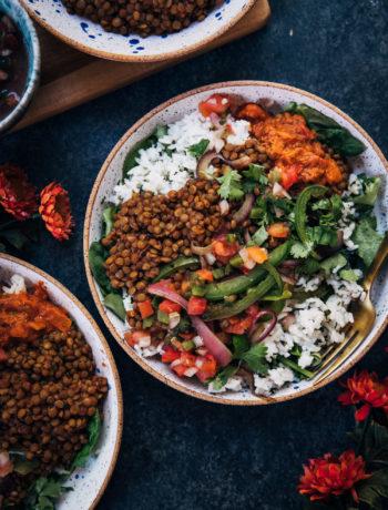 Vegan Barbecue Lentil Burrito Bowl | Well and Full | #vegan #recipe #glutenfree