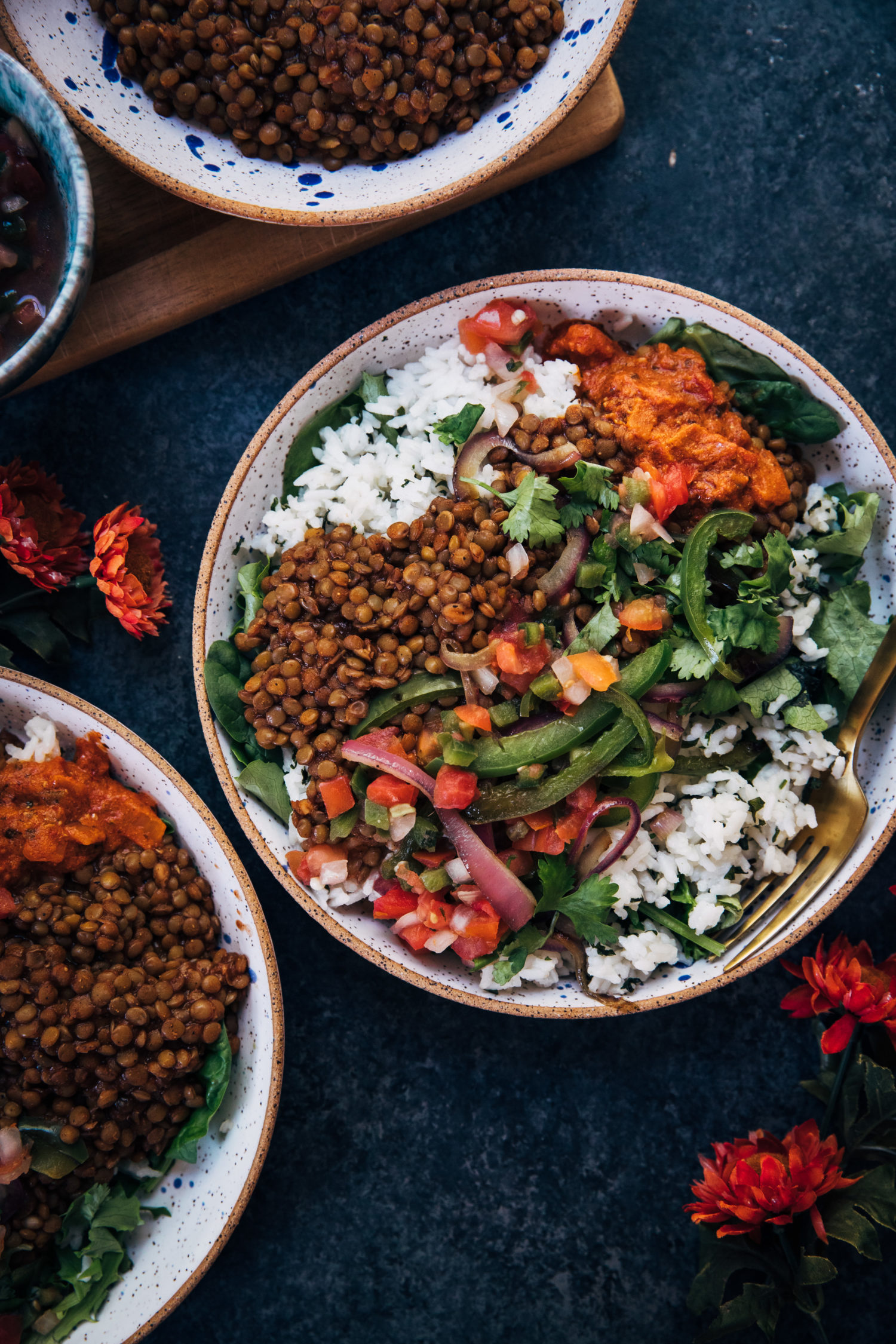 Vegan Barbecue Lentil Burrito Bowl | Well and Full | #vegan #recipe #glutenfree