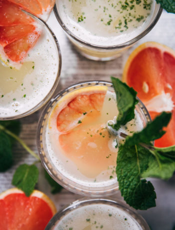 Grapefruit Mint Lemonade | Well and Full | #vegan #drink #recipe