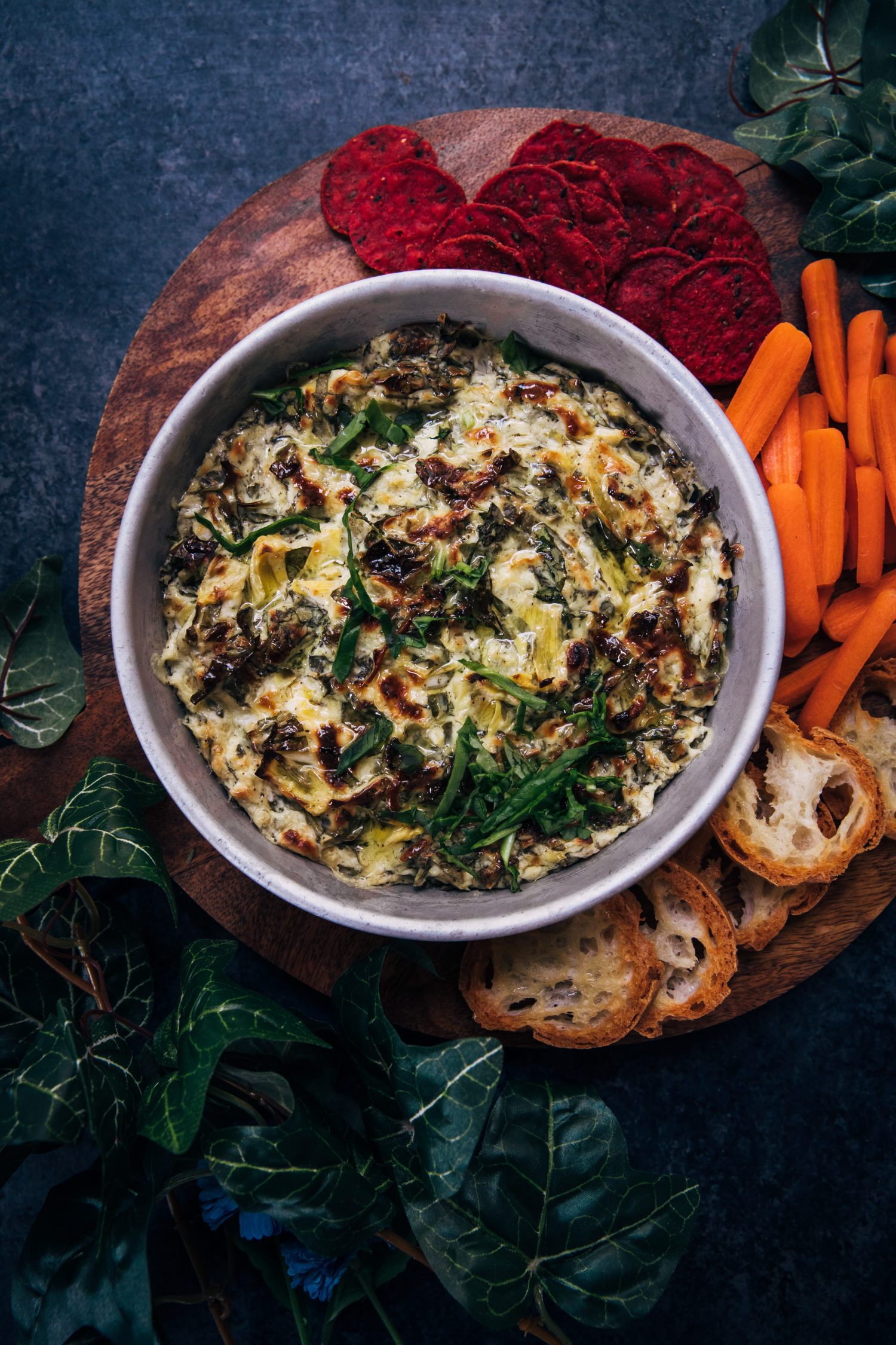 Vegetarian Spinach and Artichoke Dip | Well and Full | #vegetarian #recipe