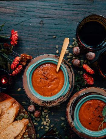 Creamy Pumpkin Tomato Soup | Well and Full | #vegetarian #recipe