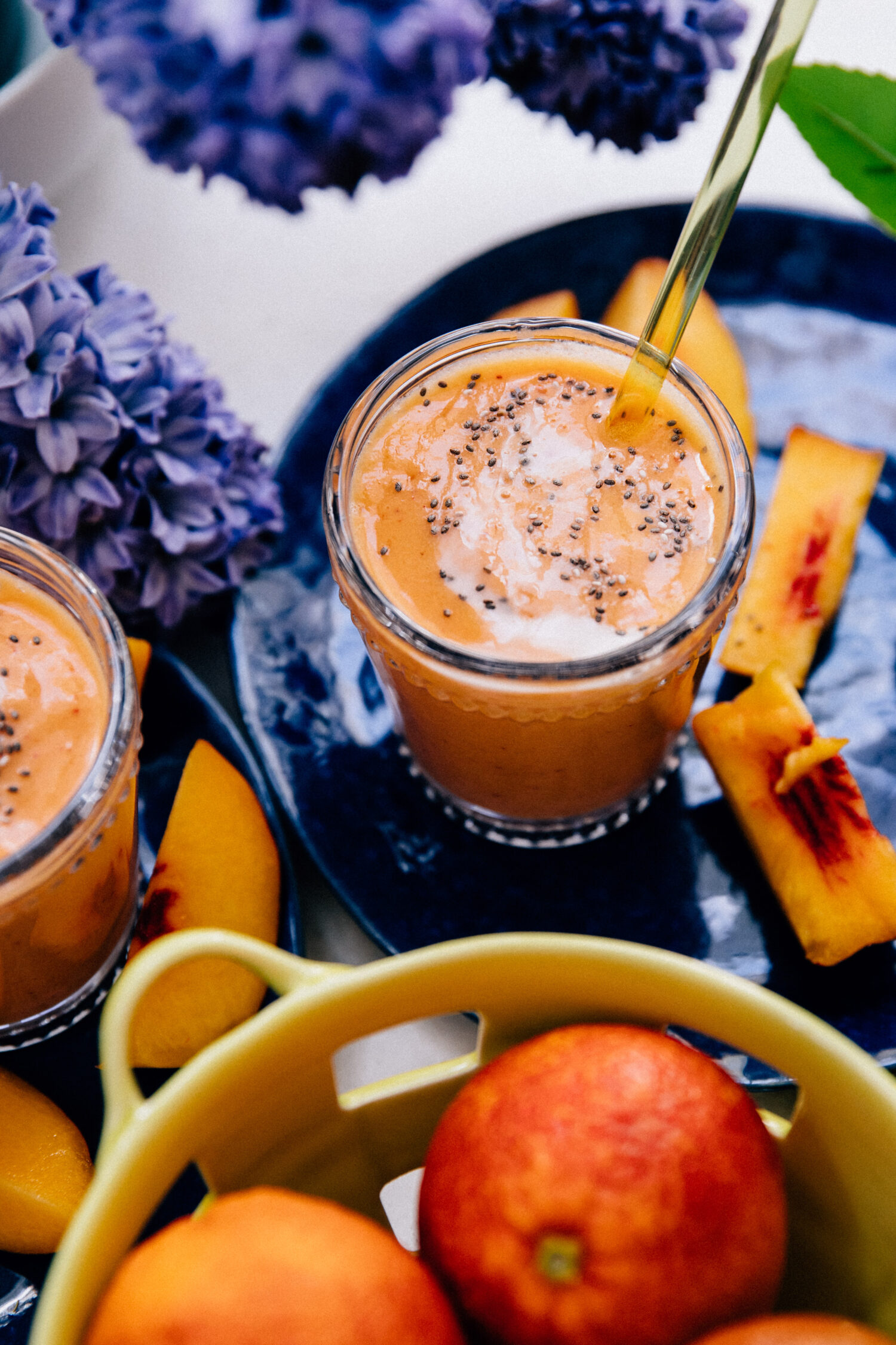 Vegan Peach Protein Smoothie | Well and Full | #healthy #recipe