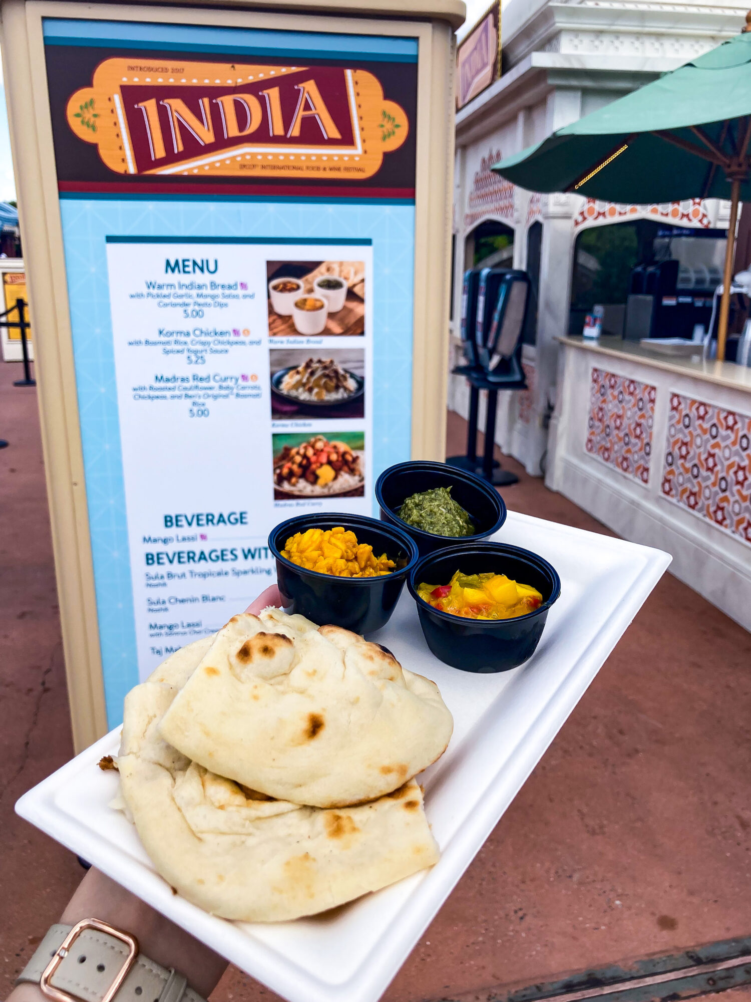 Warm Naan with Dip Trio | EPCOT Food & Wine Festival 2021